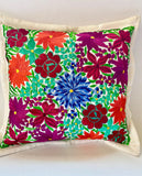 Mexican Embroidered Flowers Pillow Cover III