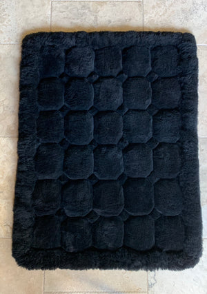 Natural Black Alpaca Rug 3.5 x 4.75'