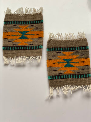 Zapotec Coasters Set of 2, Mocha