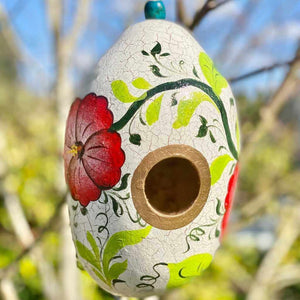 Floral Handpainted Gourd Birdhouse Picchu + Bold
