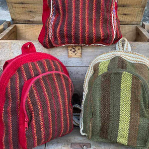 Andean Tweed Red Green Striped Mini Small Little Backpack Portland Picchu + Bold