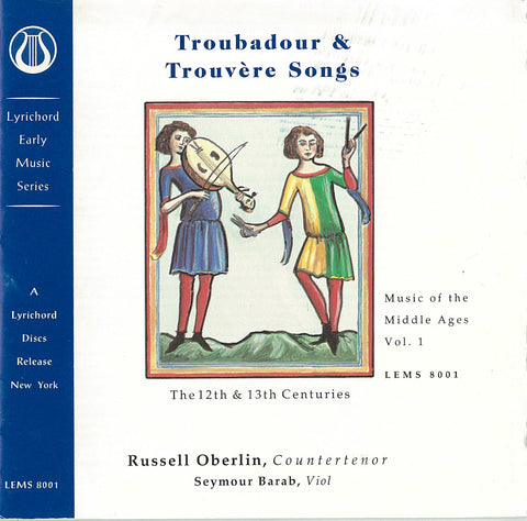 "Music of the Middle Ages, Vol. 1: Troubadour and Trouvere Songs (12th and 13th Century) <font color=""bf0606""><i>DOWNLOAD ONLY</i></font> LEMS-8001"