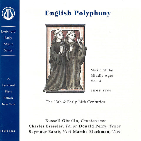 "Music of the Middle Ages, Vol. 4: English Polyphony of the 13th and Early 14th Centuries <font color=""bf0606""><i>DOWNLOAD ONLY</i></font> LEMS-8004"