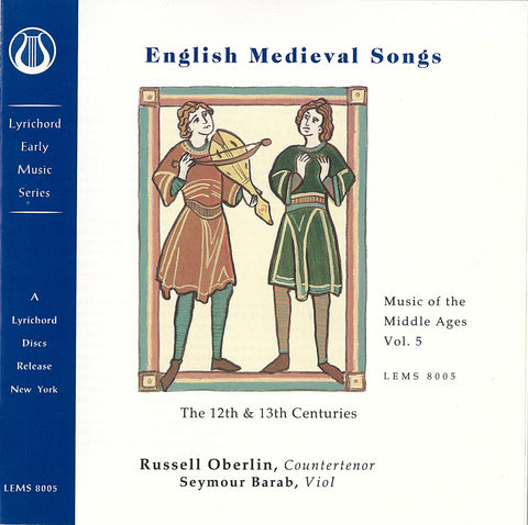 "Music of the Middle Ages, Vol. 5: English Medieval Songs (12th and 13th Centuries) <font color=""bf0606""><i>DOWNLOAD ONLY</i></font> LEMS-8005"