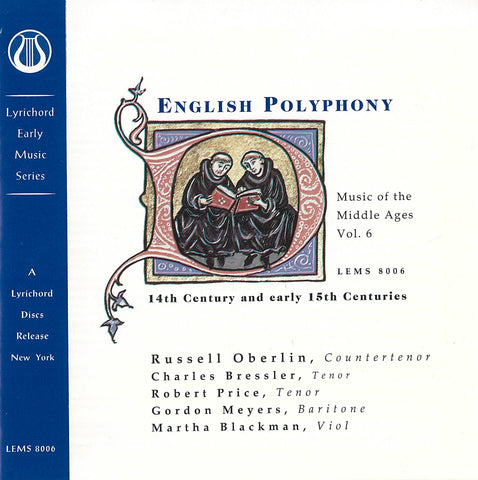 "Music of the Middle Ages, Vol. 6: 14th and early 15th Century English Polyphony <font color=""bf0606""><i>DOWNLOAD ONLY</i></font> LEMS-8006"
