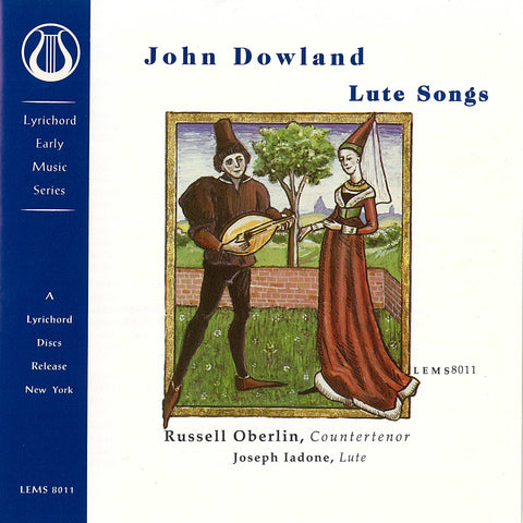 "John Dowland Lute Songs - Russell Oberlin, countertenor - Joseph Iadone, lute <font color=""bf0606""><i>DOWNLOAD ONLY</i></font> LEMS-8011"