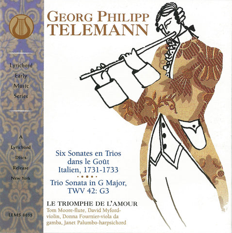 "Georg Philipp Telemann, Six Sonates en Trios dans le Gout Italien, Trio Sonata in G Major, TQV 42  G3 - Le Triomphe de L'Amour <font color=""bf0606""><i>DOWNLOAD ONLY</i></font> LEMS-8035"