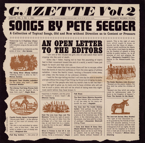 Pete Seeger  Gazette, Vol. 2 (1961) CD
