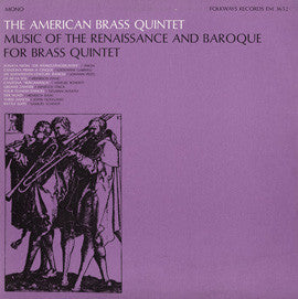 The American Brass Quintet  Music of the Renaissance and Baroque for Brass Quintet (1967) CD