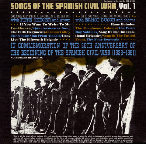 Pete Seeger  Songs of the Spanish Civil War Vol. 1 (1961) CD