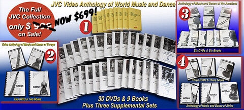 JVC Smithsonian Folkways Anthologies of World Music and Dance -- Four Complete Collections - 41 DVDs, 20 Books and 1 CD-ROM of 9 Books-- NEW PRICE