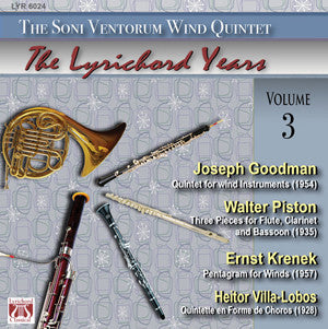 "Joseph Goodman  Walter Piston  Ernst Krenek  Heitor Villa-Lobos - <font color=""bf0606""><i>DOWNLOAD ONLY</i></font> LYR-6024"