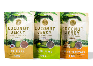 3 coconut jerky bags flavors original, chili lime and ginger teriyaki