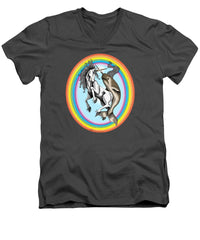 Unicorn vs Narwhal - Men's V-Neck T-Shirt - Hebkid Art