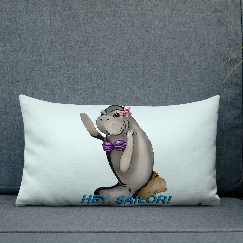 Siren Sea Cow Premium Pillow - Hebkid Art