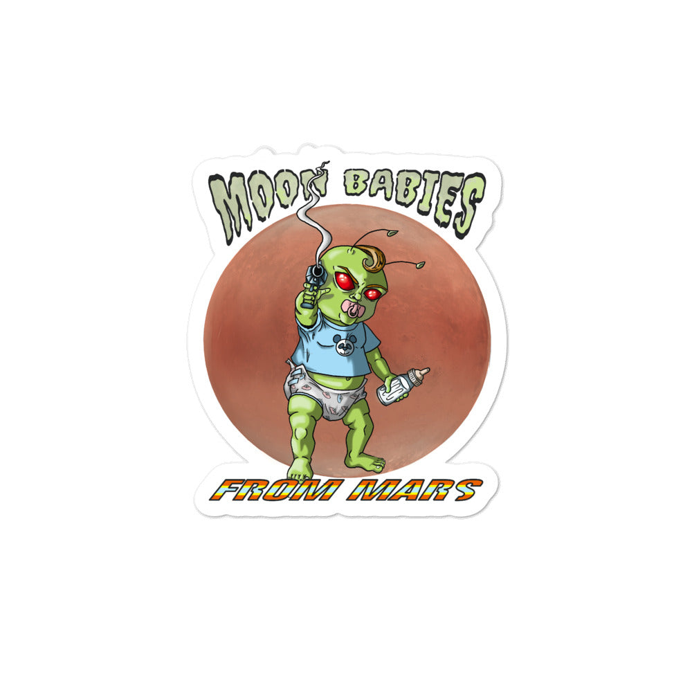 Moon Babies From Mars Bubble-free stickers - Hebkid Art