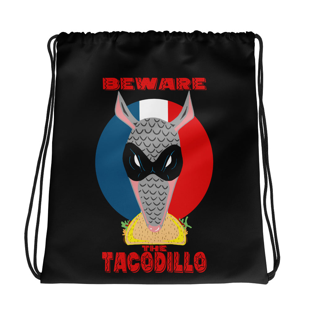 Beware The Tacodillo Drawstring bag - Hebkid Art