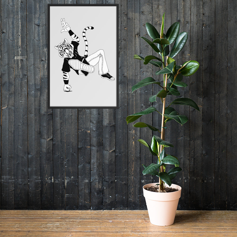 Breakdancin' Tiger Framed poster - Hebkid Art