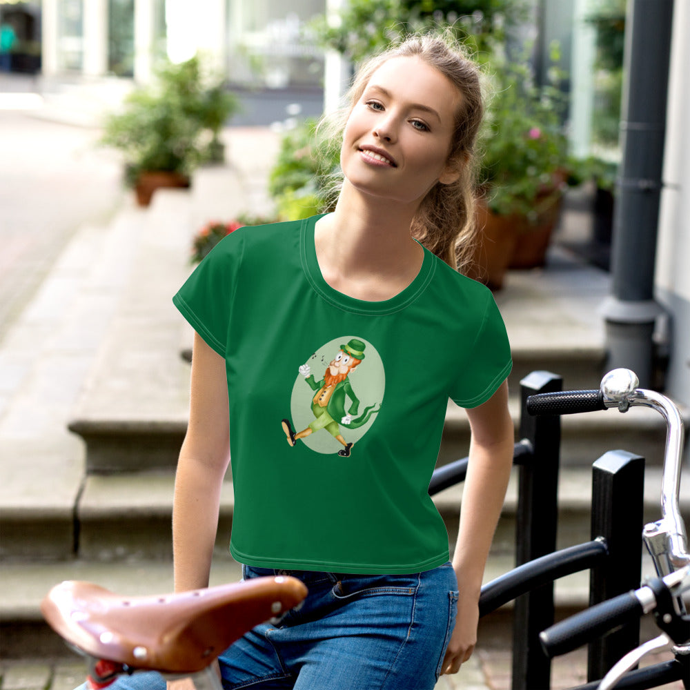 Old Timey Cartoon Leprechaun All-Over Print Crop Tee - Hebkid Art