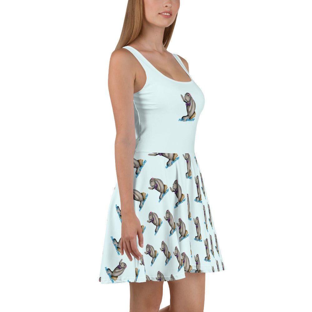 Siren Sea Cow Skater Dress - Hebkid Art