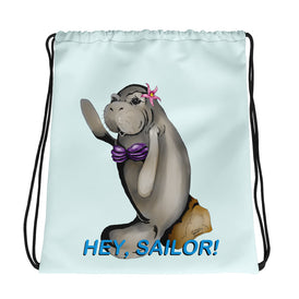 Siren Sea Cow Drawstring bag