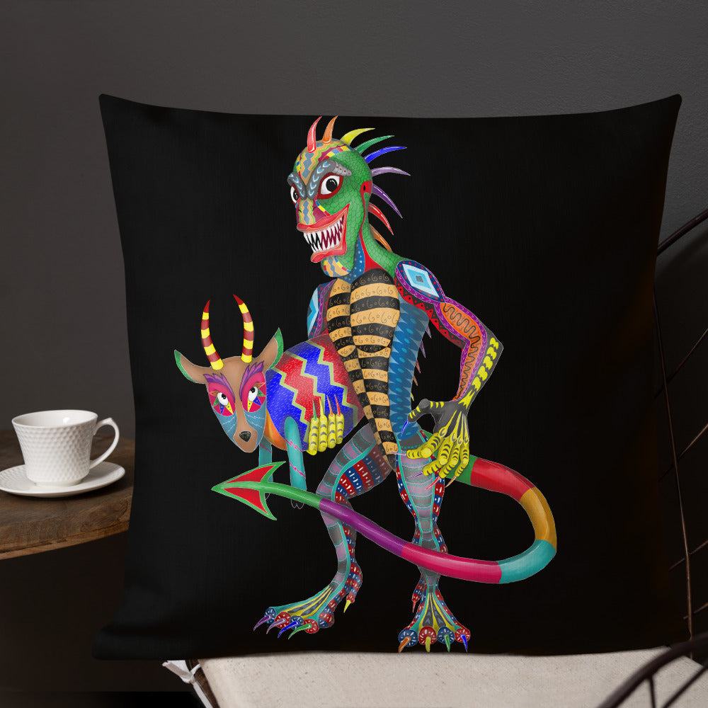 Chupacabra And Goat Premium Pillow - Hebkid Art