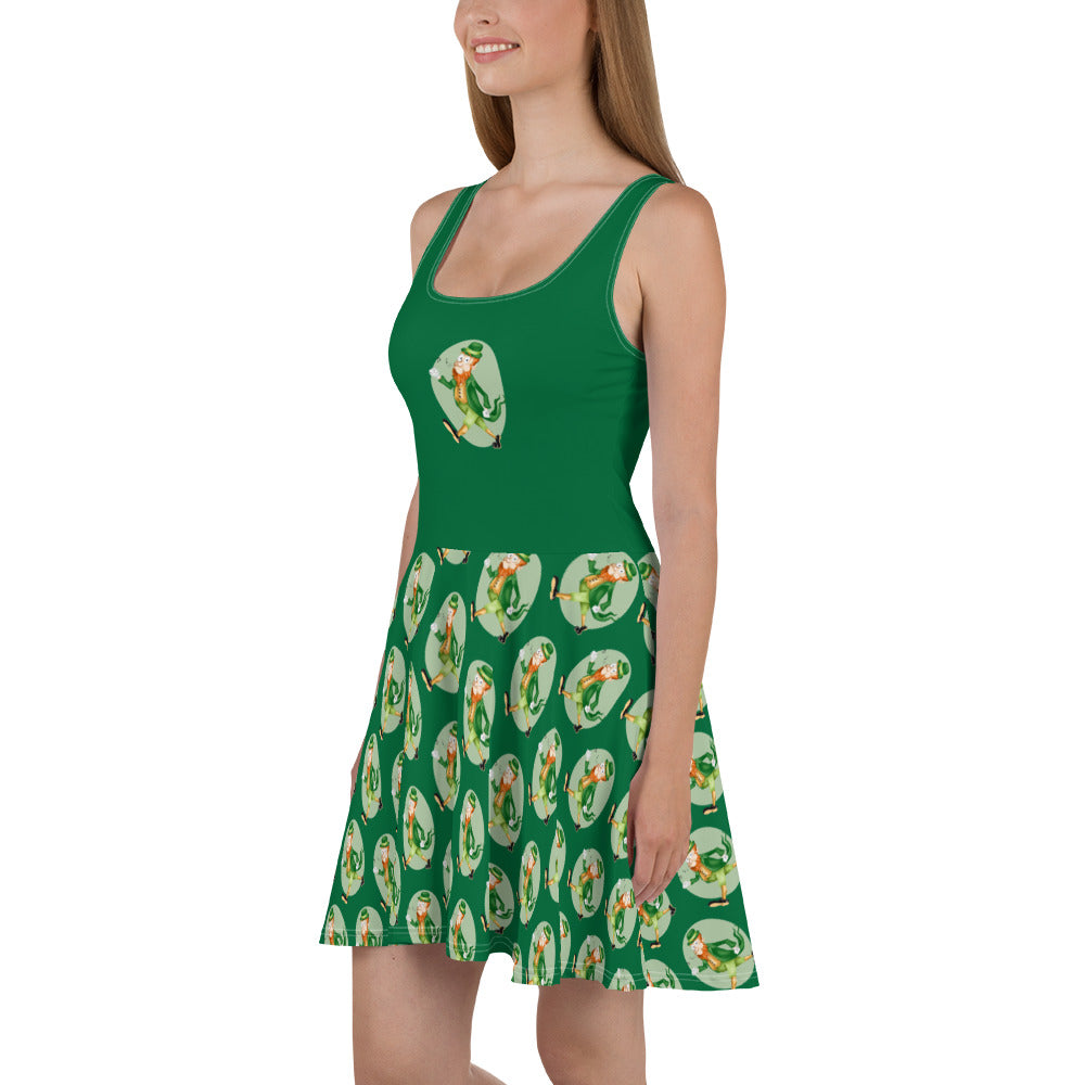 Old Timey Cartoon Leprechaun Skater Dress - Hebkid Art