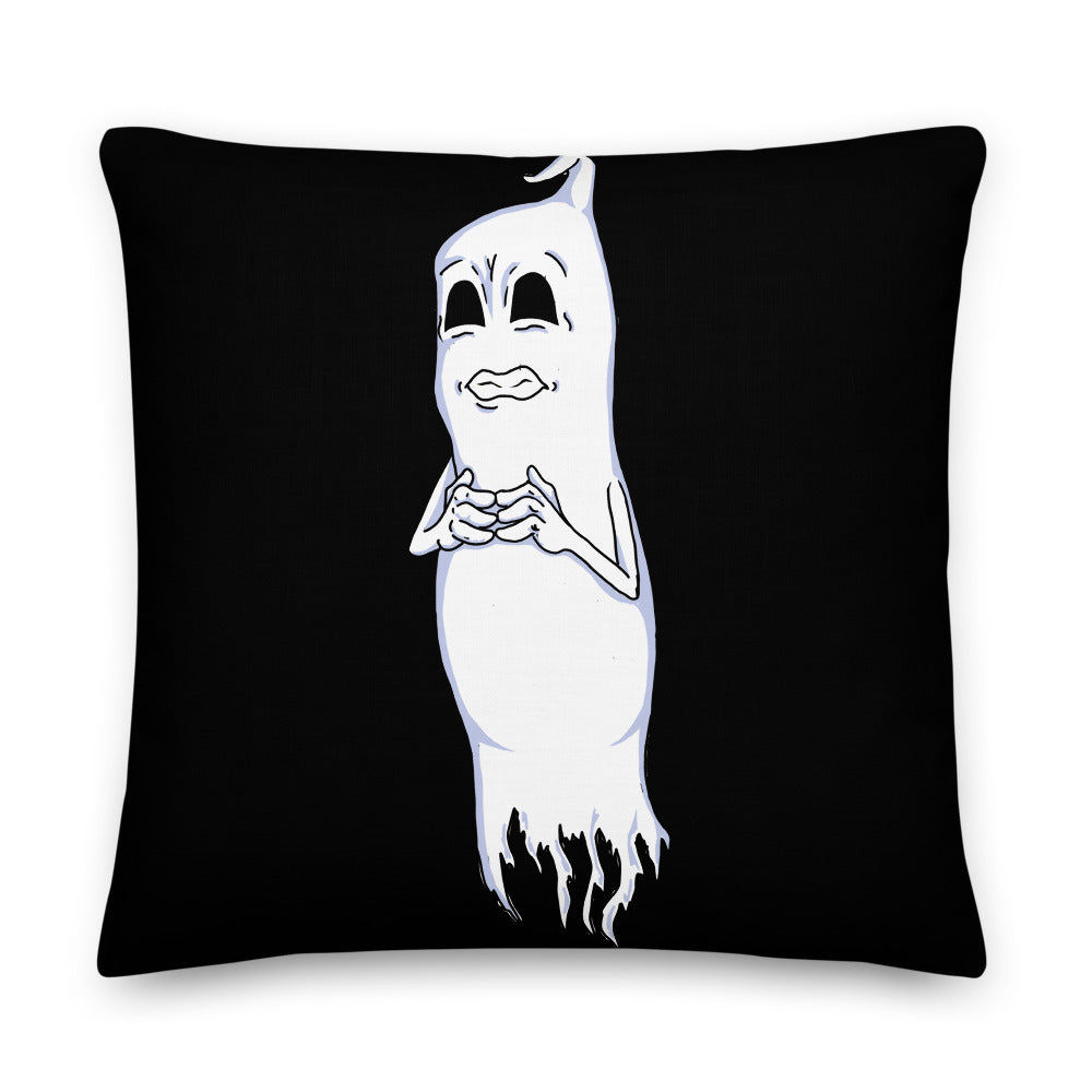 Nervous Ghost Premium Pillow - Hebkid Art