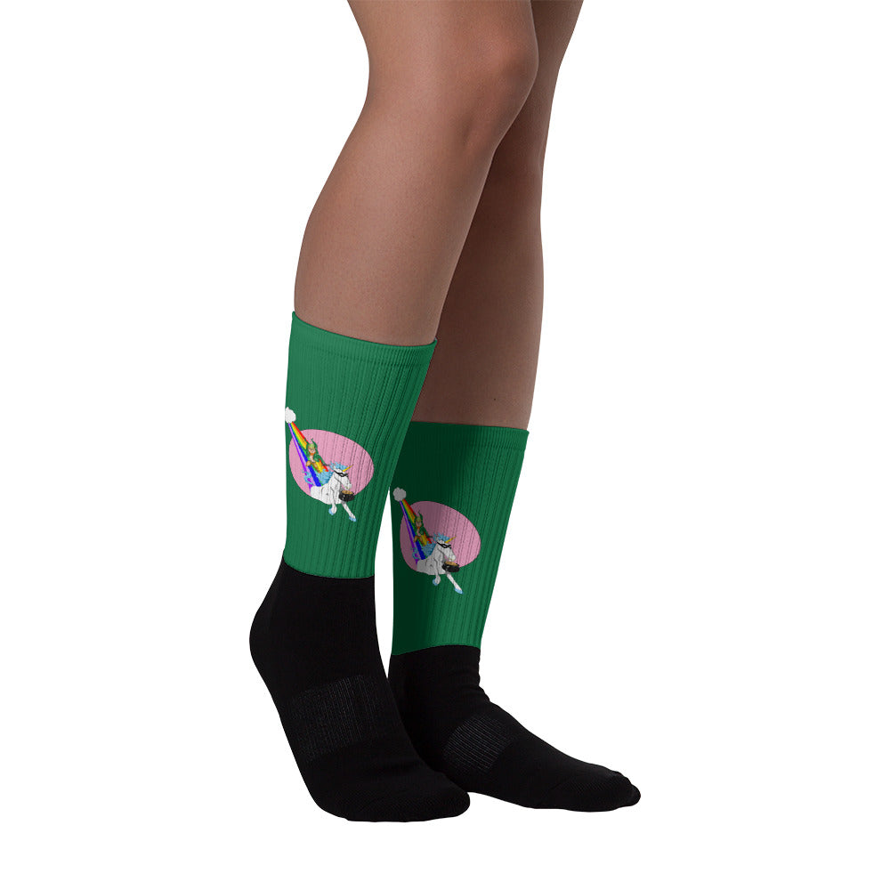 Leprechaun vs Unicorn Socks
