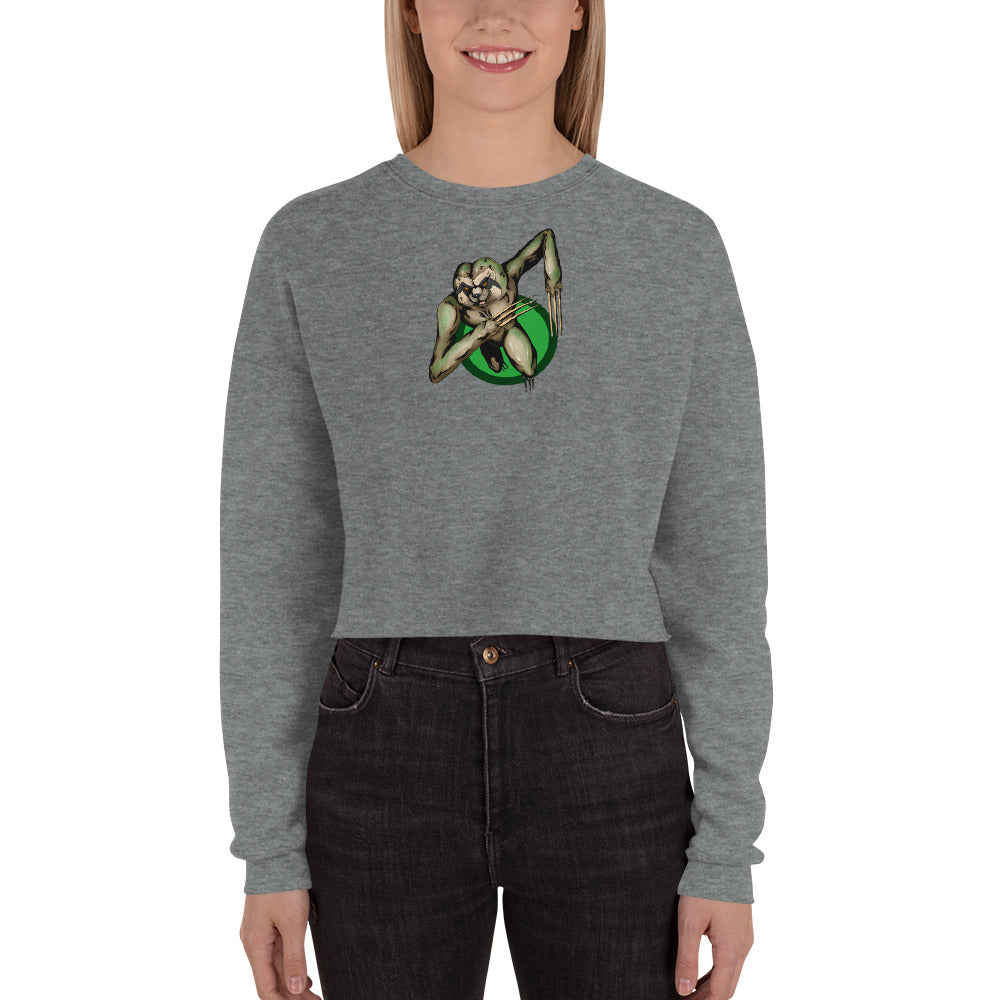 Berserker Sloth Crop Sweatshirt - Hebkid Art