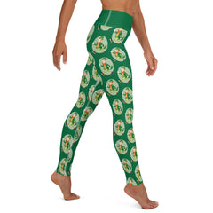 Old Timey Cartoon Leprechaun Yoga Leggings - Hebkid Art