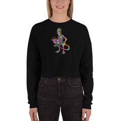 Chupacabra And Goat Crop Sweatshirt - Hebkid Art