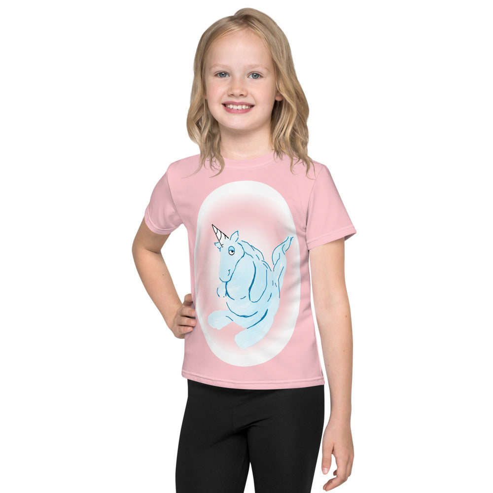 Cotton Candy Unicorn Kids T-Shirt - Hebkid Art