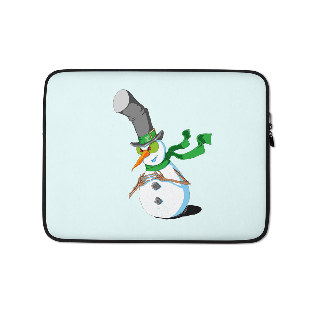 Plotting Snowman Laptop Sleeve - Hebkid Art