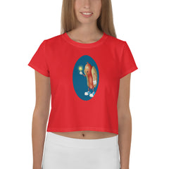 Mesmerized Hot Dog All-Over Print Crop Tee - Hebkid Art