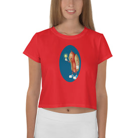 Mesmerized Hot Dog All-Over Print Crop Tee