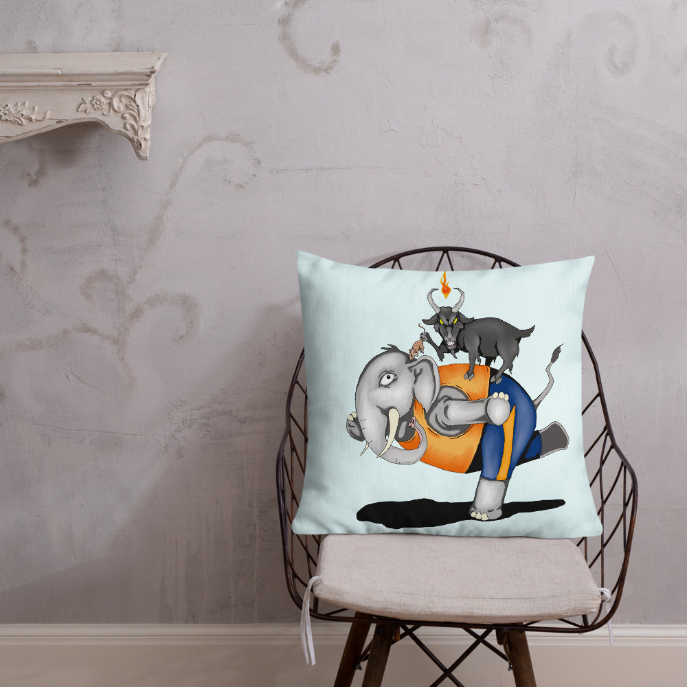 Evil Goat Yoga Premium Pillow - Hebkid Art