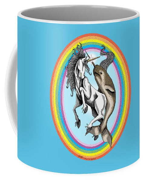 Unicorn vs Narwhal - Mug - Hebkid Art