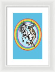 Unicorn vs Narwhal - Framed Print - Hebkid Art