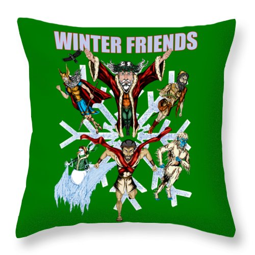 Winter Friends - Throw Pillow - Hebkid Art