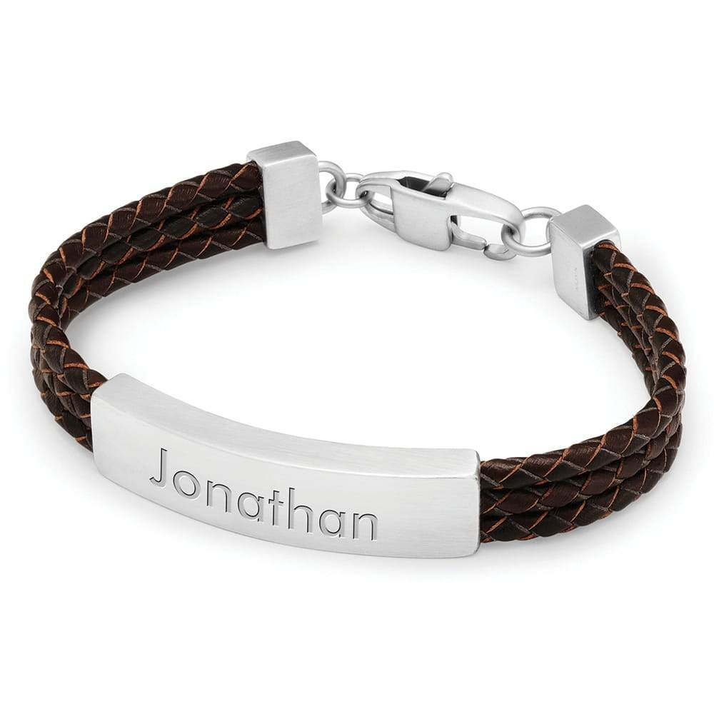 Triple Brown Wrapped Leather ID Bracelet