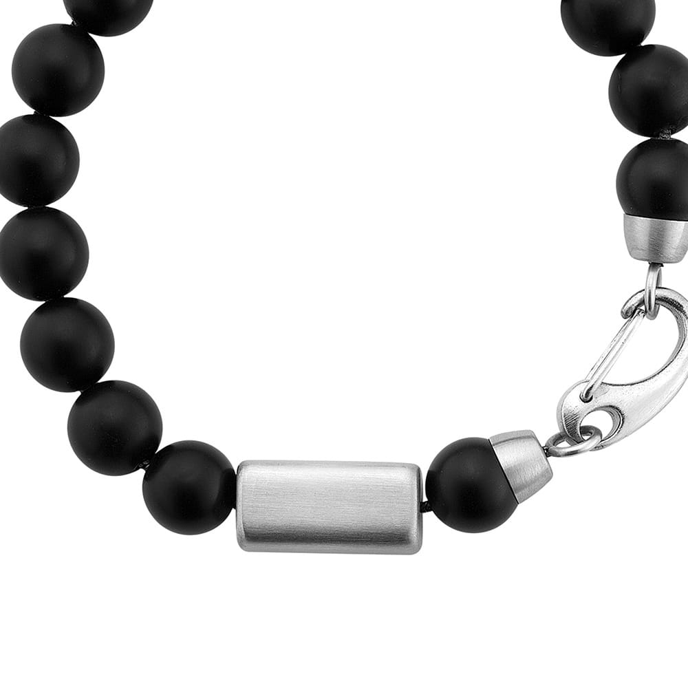 Mens Black Onyx Bead Bracelet