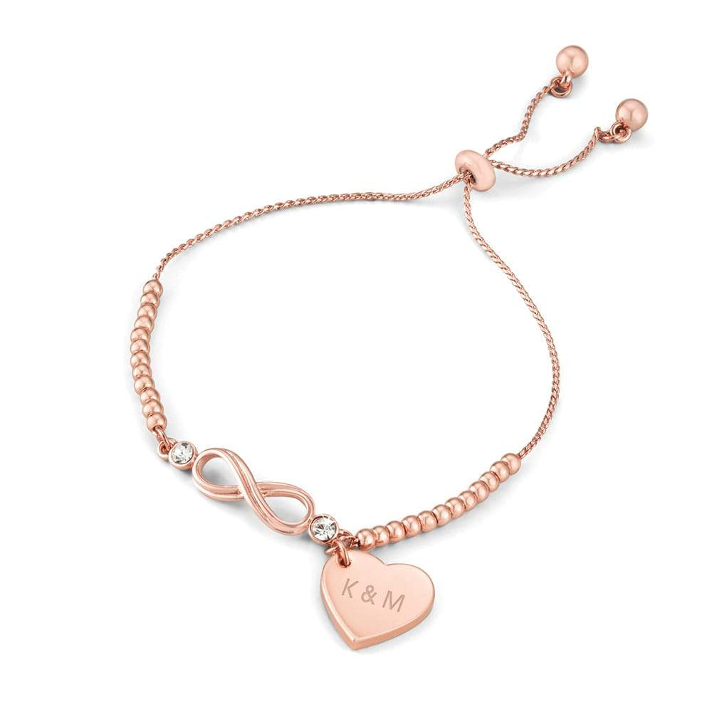 Rose Gold Plated Infinity Bead Lariat Bracelet PRE-ORDER