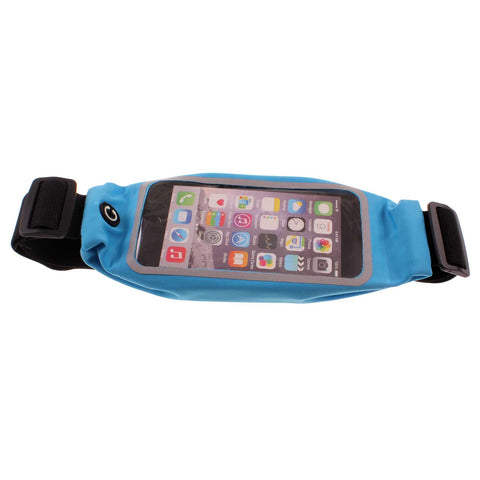 Waist Bag Sports Running Cover - Touch Screen Window - L - Reflective - Blue - Fonus J95
