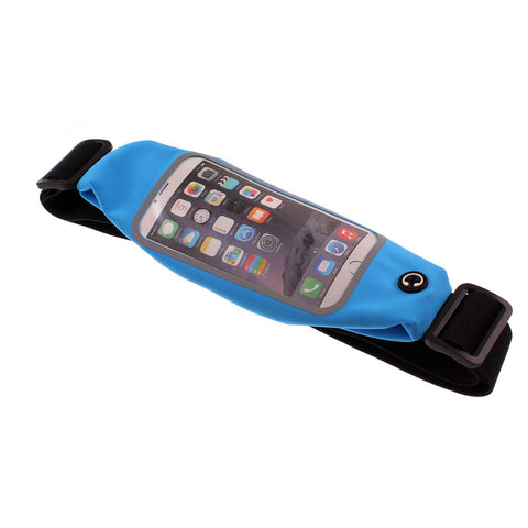 Waist Bag Sports Running Cover - Touch Screen Window - M - Reflective - Blue - Fonus A09