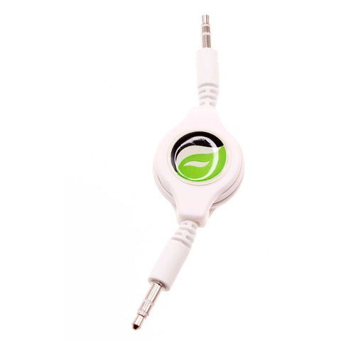 Retractable Audio Cable Aux-in Car Stereo Speaker Cord - White - Fonus F38