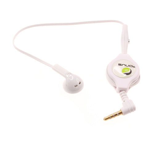 Retractable Mono Earphone 3.5mm Headphone - In-Ear Single Earbud - White - Fonus J79