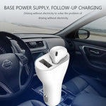 Mono Bluetooth Earphone Wireless Earbud Car Charger Combo - White - L89