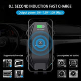 Car Wireless Charger Mount Dashboard Air Vent Holder Fast Charge Auto Sensor Dock - ZDA75