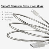 3ft USB to Lightning Cable Charger Cord - Metal - Silver - E80